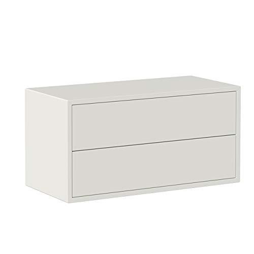 Iconico Home QBE Cubo da parete, con 2 cassetti apertura a pressione, Ingresso, Soggiorno, Camera da letto, Cameretta ragazzi, Studio, 75x35xh37,5 cm, Bianco