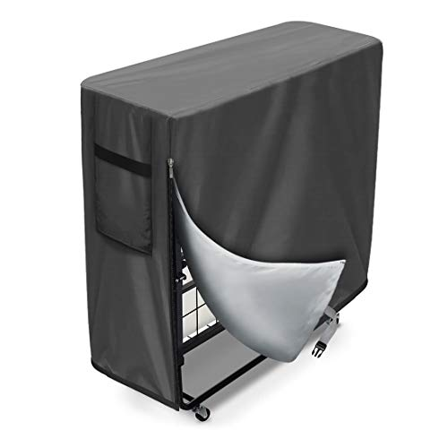 WES Cama plegable a prueba de polvo cubierta protectora para interior exterior ajustable impermeable protector multifuncional cubierta (gris)