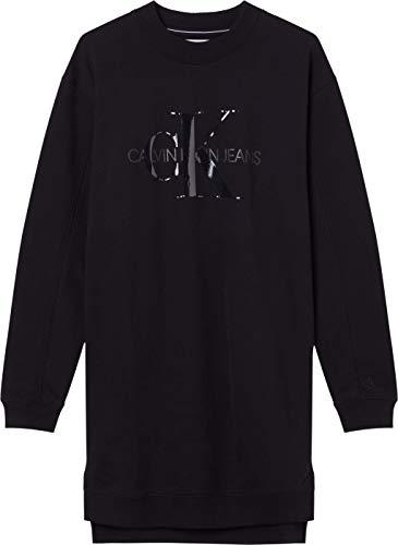 Calvin Klein Jeans Damen Tonal Monogram HWK Dress Kleid, Ck Schwarz, L