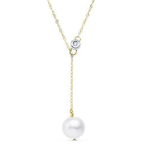 Gargantilla con Diamante Oro Amarillo 18K Brillante 0,015 CT. Collar con Perla