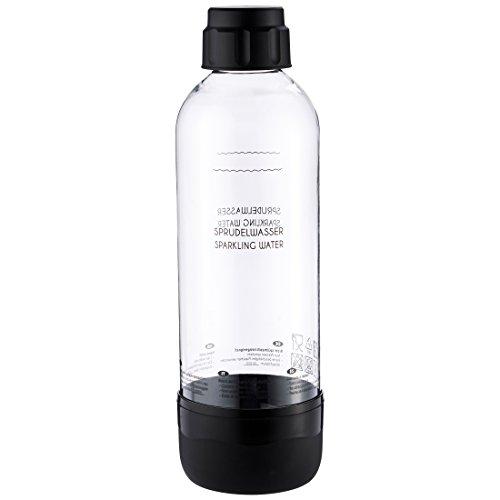 Levivo Wassersprudler Flasche, bruchfeste Kunstoffflasche für Levivo Sprudler, mit Deckel und Boden in schwarz, Inhalt: ca. 1 l