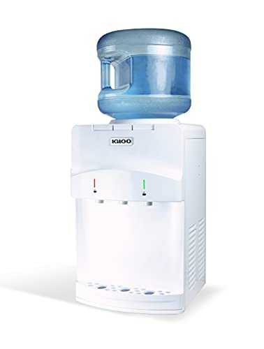 Igloo IWCTT353CRHWH Countertop Water Cooler Dispenser; Top-Loading; Room Temperature - Cold & Hot, Holds 3 & 5 Gallon Bottles, Child Safety Lock, Perfect For Homes, Kitchens, Offices, Dorms, White