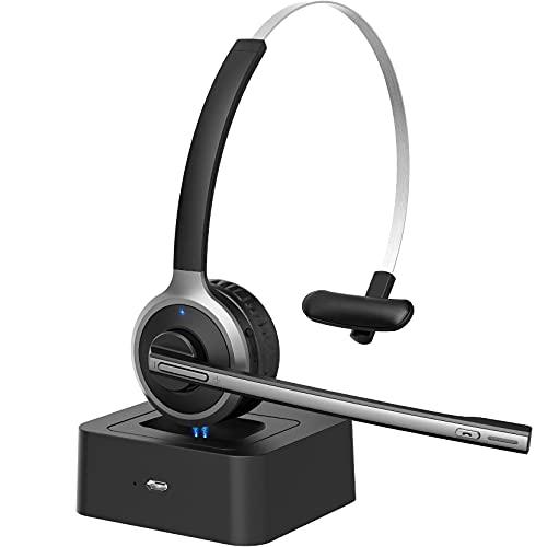 Cuffie Bluetooth con Microfono, Bluetooth 5.0, Stazione di ricarica da 200 ore, Flip-up per disattivare l audio, Cuffie Telefoniche Senza Fili con Microfono per Call Center, Skype, Microsoft Teams