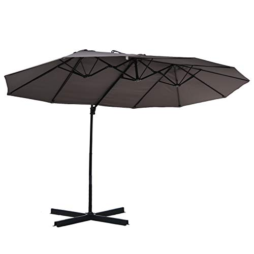 Outsunny Sonnenschirm mit Kurbel, Doppelschirm, Verstellbarer Gartenschirm, Sonnenschutz, Metall, Grau, 460 x 270 x 250 cm