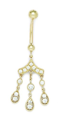 14k Yellow Gold CZ Cubic Zirconia Simulated Diamond 14 Gauge Dangling Drops Body Jewelry Belly Ring Measures 44x17mm Jewelry Gifts for Women