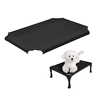 Veehoo Cooling Elevated Dog Bed Replacement Cover, Washable & Breathable Pet Cot Bed Mat, Small, Black