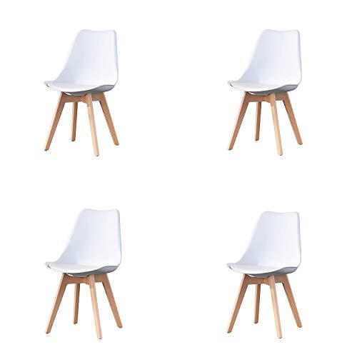 4er Set Esszimmerstühle mit Massivholz Buche Bein, Retro Design Stühle im skandinavischen Stil (Weiß)