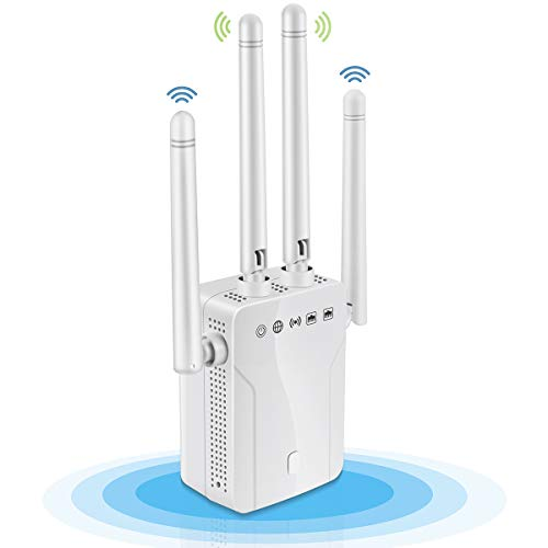 WiFi Range Extender-1200Mbps WiFi Repeater Wireless Signal Booster, 2.4 & 5GHz Dual Band WPS Wireless Signal 4 Antennas 360° Full Coverage (4 Antennas, White)