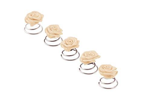 5 x Rosen Curlies - Brauthaarschmuck - Curlie - Haarschmuck   Beige