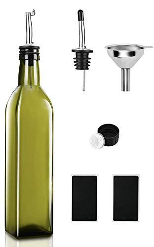 A M I N A Aceitera Mykonos de cristal con accesorios – (verde) 1 x 500 ml dispensador de aceite con cierre antisuciedad   antigoteo y apto para lavavajillas