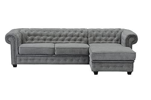 Imperial, estilo Chesterfield, esquina, sofá, cama, 2 plazas, 3 plazas, pouf, (Corner Right, grafito)