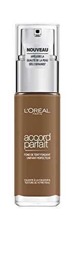 L'Oréal Paris - Fond de Teint Fluide Accord Parfait - Peaux Sèches à Normales - Teinte : Doré Foncé (10.D) - 30 ml