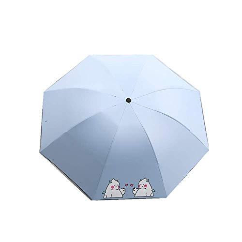 DZNOY Paraguas Plegables sombrilla Paraguas impresión pequeña Fresca Protector Solar Anti-Ultravioleta Lluvia y Sol Doble propósito sombrilla (Color : Light Blue)