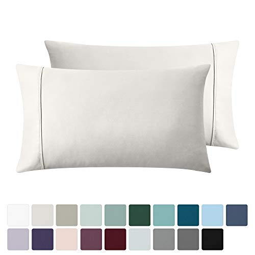 400 Thread Count 100% Cotton Pillow Cases, Ivory King Pillowcase Set of 2, Long - Staple Combed Pure Natural Cotton Pillows for Sleeping, Soft & Silky Sateen Weave Bed Pillow Covers