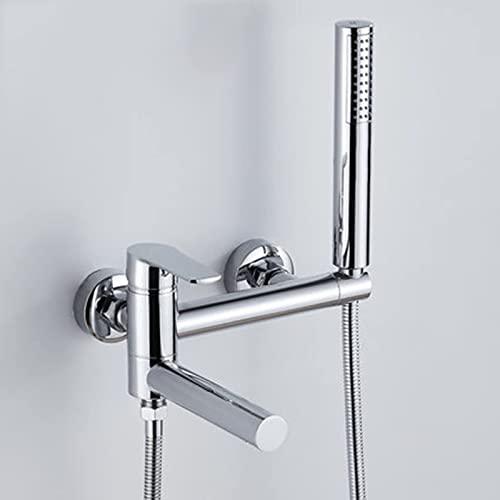 Grifo de bañera montado en la pared, grifo de latón con ducha de mano, caño giratorio para bañera, grifo de ducha de baño Grifo mezclador de agua fría y caliente, cromo
