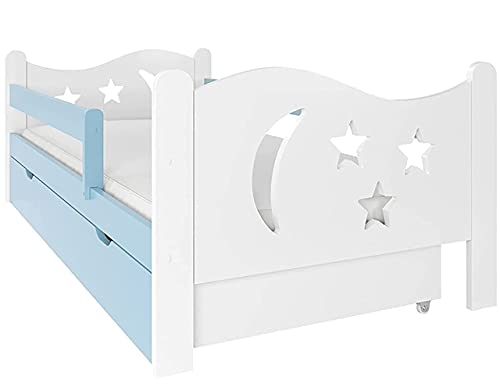 Cama niño Infantil con colchón NeedSleep® | 140x70 140x80 160x80 180x80 | Montessori 2 años | Cama con cajones | Cama Bebe cabeceros Infantiles | Barrera Cama | niña niño (70x140 cm, Azul)