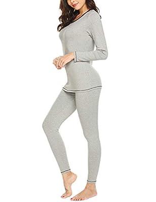 MAXMODA Women's Long Johns Thermal Underwear Fleece Lined Winter Base Layer Set(Gray,XL)