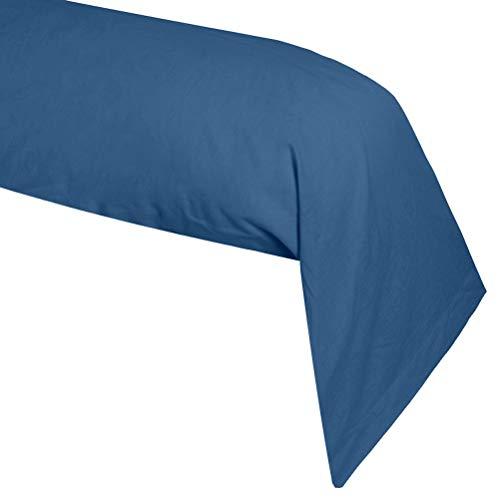 Lovely Casa T34820001 ALICIA Federa cuscino cilindrico, 100 % Cotone a 57 fili, 45 x 185 cm, Blu