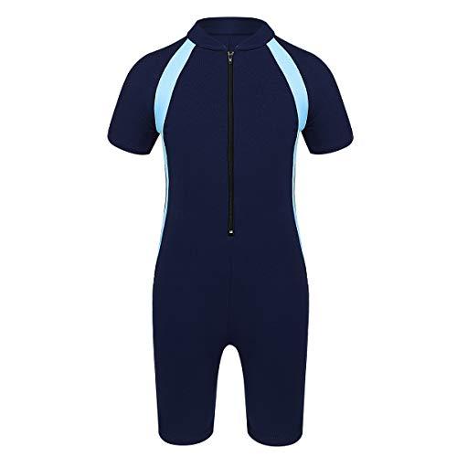 Kaerm Kids Boys Girls Short Sleeve Zippered Swimsuit Rashguard Shirts Swim/Surfing/Diving Sun Protective Wetsuit Navy Blue 10-12