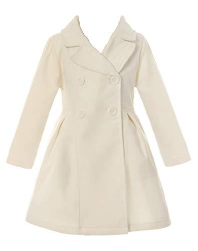 iGirlDress Coat Long Sleeve Button Pocket Long Winter Coat Outerwear Ivory Size 8