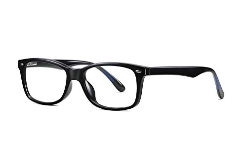 SKILEC Gafas Anti Luz Azul Gafas Ordenador Gafas Lectura Hombre Mujer Antifatiga Filtro Protección Azul UV Gafas Presbicia Hombre para PC, Gaming, Tablet, Videojuegos Lentes Transparentes (Negro)