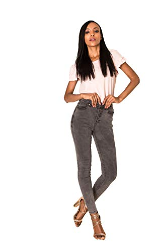 Crazy Age Damen Jeans Hose | 5 Pocket Denim | High Waist Jeans | Frauendenim in Herbstfarben |Super Skinny | Ultra Soft |Skinny | Stretch (Grau(Q1808-3), S~34)