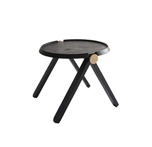 QJXSAN Massivholz Beistelltisch Runder Niedriger Tisch Eiche Modernes Sofa Wohnzimmer Snack Tisch Arbeitszimmer Balkon (Color : Black, Size : 60×42CM)