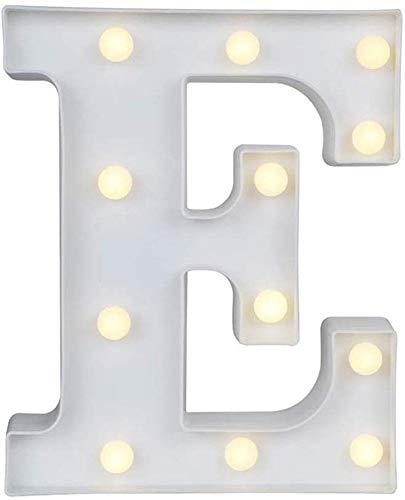 Gspirit LED Marquee Lettera Luci 26 Alfabeto Accendere Cartello Natale Luce otturna Lampada per Nozze Casa Festa Bar Decorazione (E)