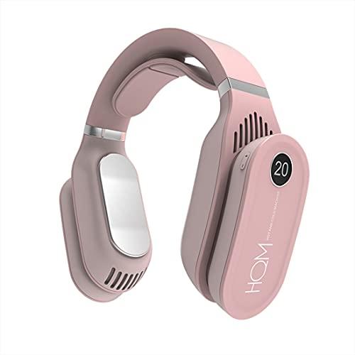 Ventilador de cuello sin aspas, portátil de doble propósito, ventilador para colgar en el cuello, diseño de auriculares, mini bufanda de aire acondicionado con 3 velocidades (rosa)