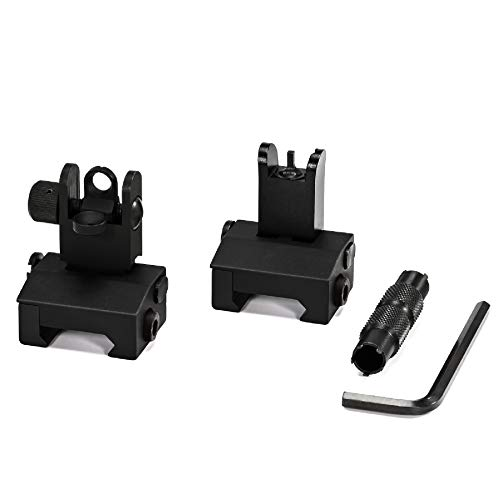 KNINE OUTDOORS Flip Up Iron Sights Set for Rifle Including Front Sight Rear Sight & Sight Adjusting Tool