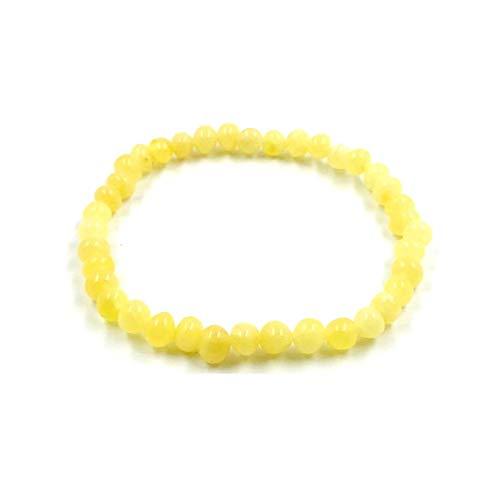 Amber Jewelry Shop Pulsera de ámbar báltico natural sobre elástico de 19 cm, color amarillo, fabricada con auténticas cuentas de ámbar
