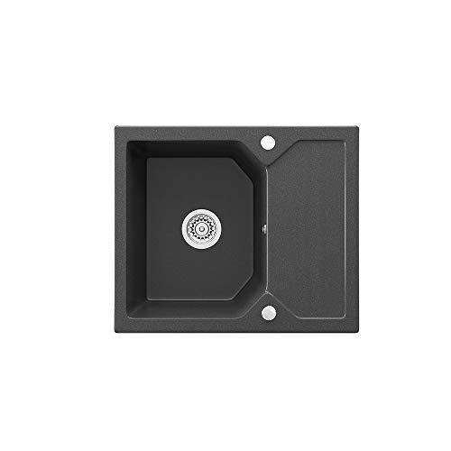 Bergström Spüle Küchenspüle Einbauspüle Spülbecken Granit Schwarz 590 x 500mm + Siphon + Drehexcenter
