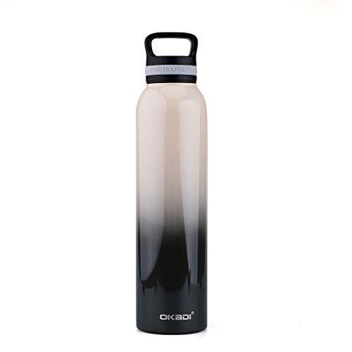 OKADI Wasserflasche – Edelstahl doppelwandig vakuumisoliert, BPA-frei, 625 oz, 29oz, coffee, 29 oz