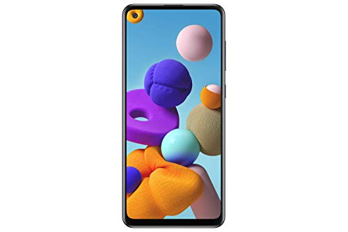 "Samsung Galaxy A21s (A217F) 128GB, Dual-SIM, 6.4"" Infinity-U Display, Triple Camera, GSM Unlocked Smartphone - International Model (Black)"