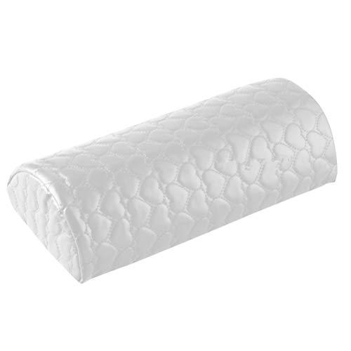 Lurrose - Almohada suave para decoración de uñas, soporte para manos, media columna, esponja suave para manicura, tratamiento de peluquería (color blanco)
