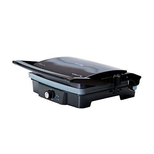 UNIVERSALBLUE Grill Eléctrico 2000W | Sandwichera Plancha Grande | Apertura 180º | Acero Inoxidable | Tirador con Tacto frío