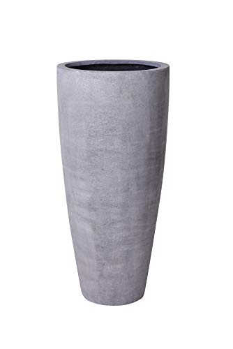 VIVANNO Pflanzkübel Pflanzgefäß Blumenkübel Fiberglas Beton-Design grau City - 80 x 37 cm