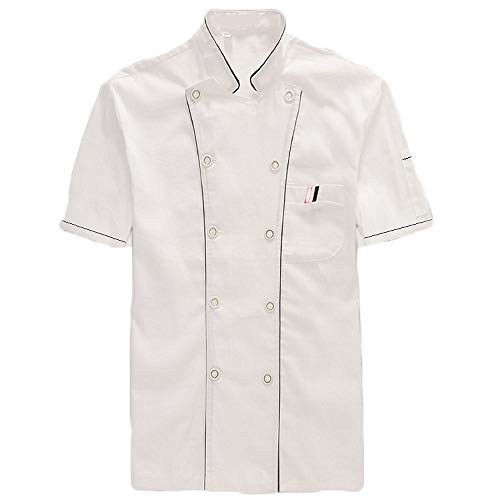 WYCDA - Chaqueta de chef de manga corta para descontaminación de la humedad, unisex, transpirable, para repostería, para cocinero, descontaminación, mangas blancas, M