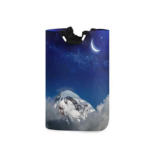 N\A Cesta de lavandería Grande Snow Mountain Star Moon Cesta de lavandería Plegable con Asas Cestas para cestas de Almacenamiento de Ropa, Organizador para el hogar.