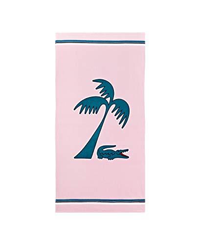 Lacoste Murphy Strandtuch, 100 % Baumwolle, 91,4 cm B x 183,9 cm L, Pink/Blaugrün