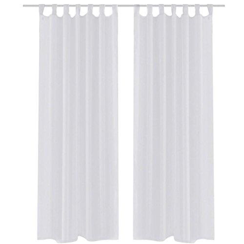 vidaXL 2X Cortinas Transparentes Blancas 140x175cm Visillo Ventana Decoración
