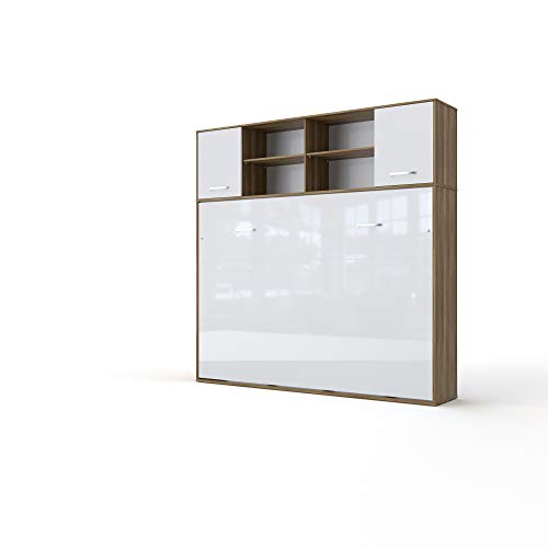Best Prices! Contempo Horizontal Wall Bed, Full XL Size with a Cabinet on top (Oak Country/White)
