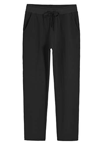 Weintee Women's Petite Cotton Sweatpants with Pockets M Black