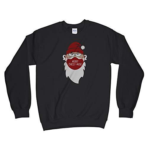 Merry Christmask Sweatshirt 2020 Quarantine Christmas Sweater Christmas 2020 Sweatshirts Merry Christ-Mask Black