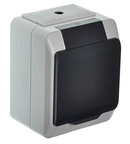 Schakelaar stopcontacten Nortic IP 44 AP opbouw/up inbouw geschikt voor gebruik buitenshuis 1 Stück grijs/antraciet