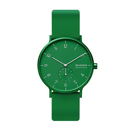Skagen Men's Aaren Quartz Analog Stainless Steel and Silicone Watch, Color: Green (Model: SKW6545)