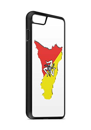 Kompatibel mit iPhone 5 5s Silikon Handyhülle Flexibles Slim Case Cover Italien Sizilien Fahne Flagge Schwarz
