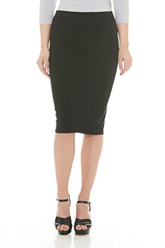 ESTEEZ Womens Modest Lightweight Cotton Lycra Knee Pencil Skirt Black Medium