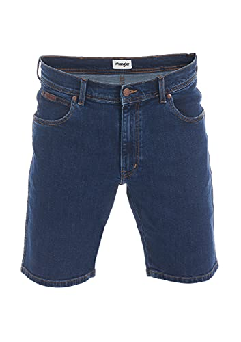 Wrangler Herren Jeans Short Texas Kurze Stretch Shorts Regular Fit Baumwolle Bermuda Sommer Hose Blau Schwarz w30 w31 w32 w33 w34 w36 w38 w40, Größe:W 36, Farbe:Blue Chip (W11CLQ46A)