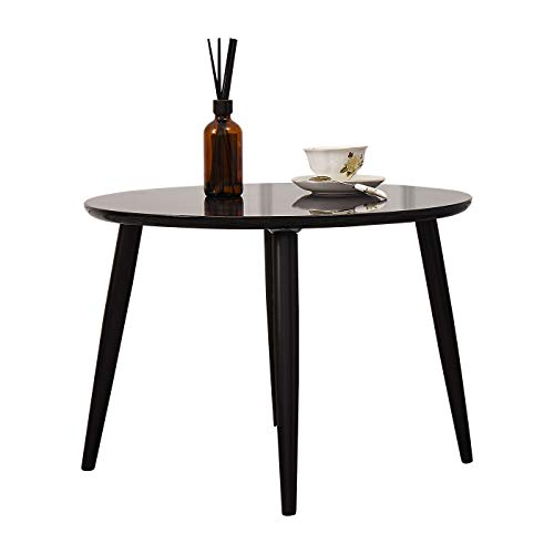 TaoHFE Coffee Table, Round Coffee Table Black for Living Room